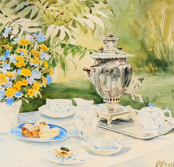 Olga Alexandrovna- The tea table is ready in the garden at Knudsminde Farm. 1938 (700x671, 212Kb)