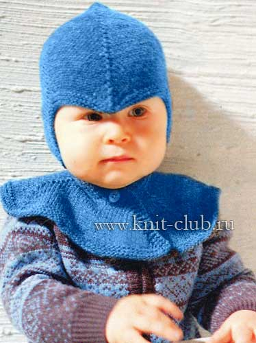 Детская шапка-шлем связана