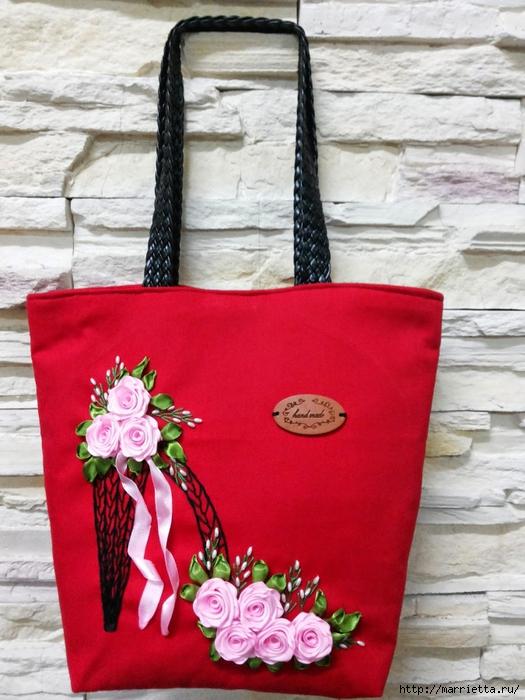 Туфелька на сумочке. Красивые идеи сумок с вышивкой лентами (2) (525x700, 281Kb)