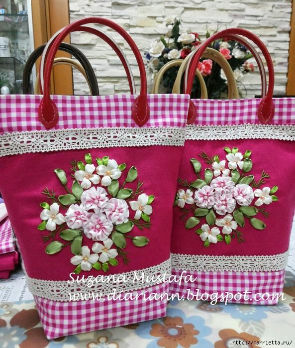 Туфелька на сумочке. Красивые идеи сумок с вышивкой лентами (4) (593x700, 418Kb)
