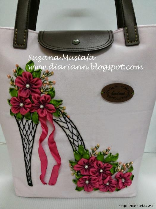 Туфелька на сумочке. Красивые идеи сумок с вышивкой лентами (10) (525x700, 258Kb)