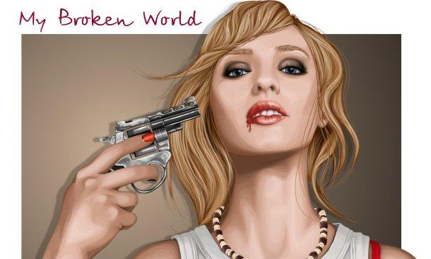 девушка с пистолетом рисунок: