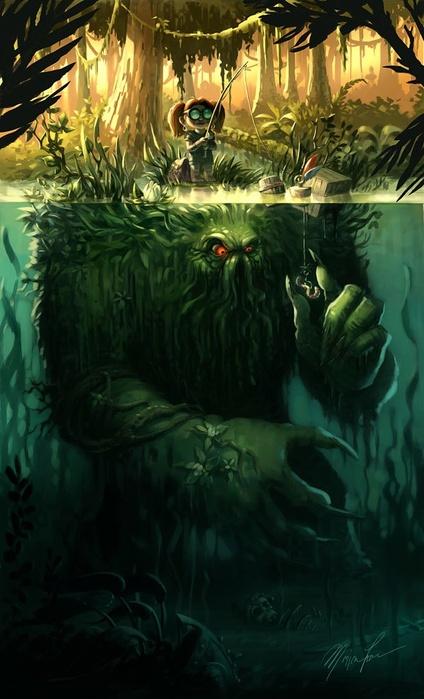 жуть монстр в воде какой-то сверхъестественный девочку проглотит и косточек не выплюнет