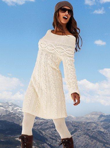 вязание спицами платье белое