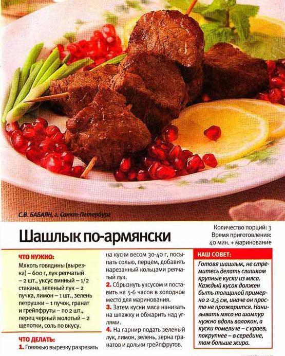 рецепт - шашлык армянский