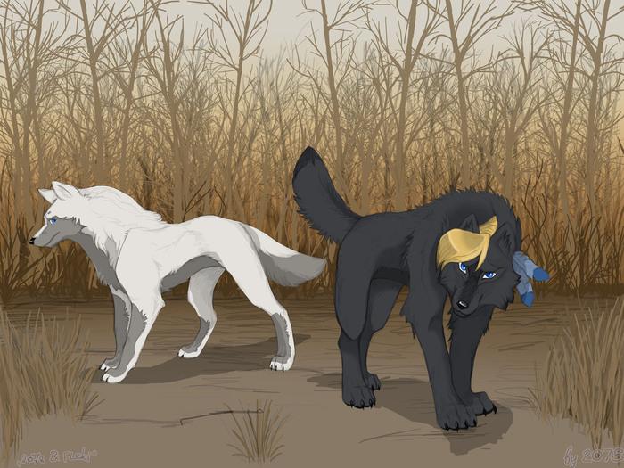рисунки волков: