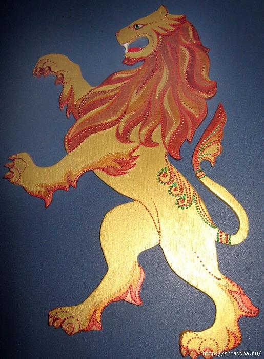 лев роспись акрилом