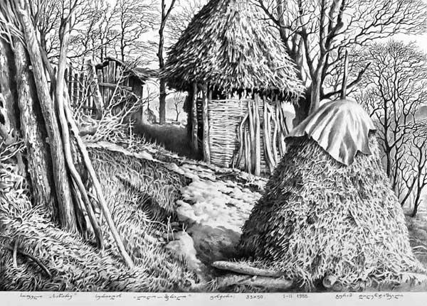 Рисунки карандашом графика Гурама Доленджашвили