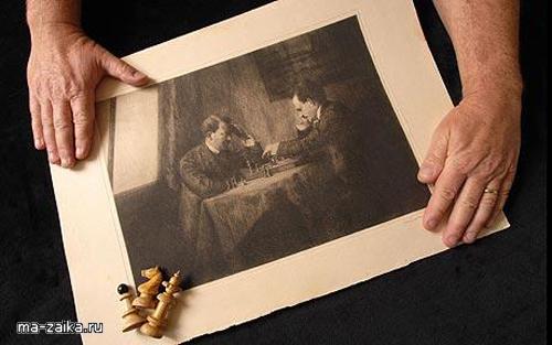 Гитлер и Ленин играют в шахматы, Вена, 1909 г.