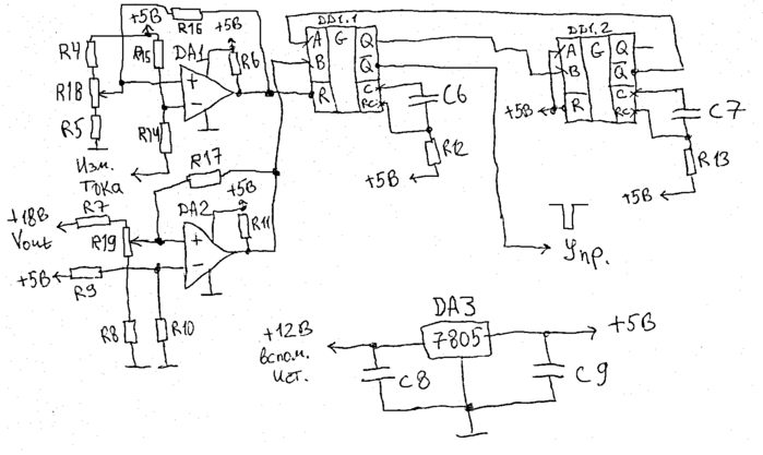 окружение компаратора DA1: