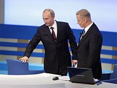 Владимир Владимирович Путин в зале, где состоялся в прямой трансляции Разговор с Путиным. Фото с Ленты.Ру