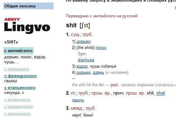 shit - перевод с английского языка