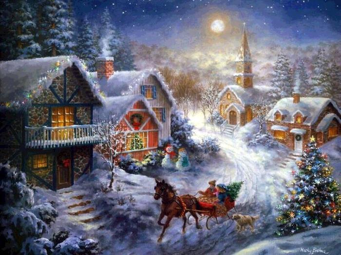 Волшебное рождество. Обои для рабочего стола с сайта www.freeoboi.ru