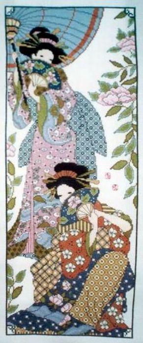 схема вышивки гейши