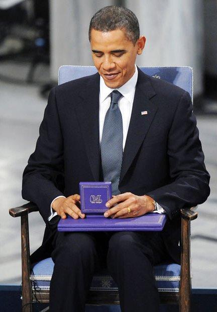Барак Обама получил премию мира в Осло, Норвегия, 10 декабря 2009 года