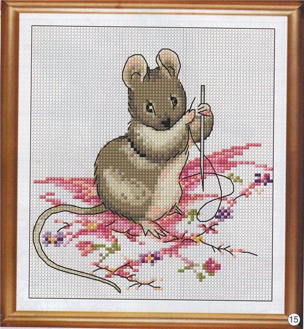 """Схема вышивки """"Мышка""""."""