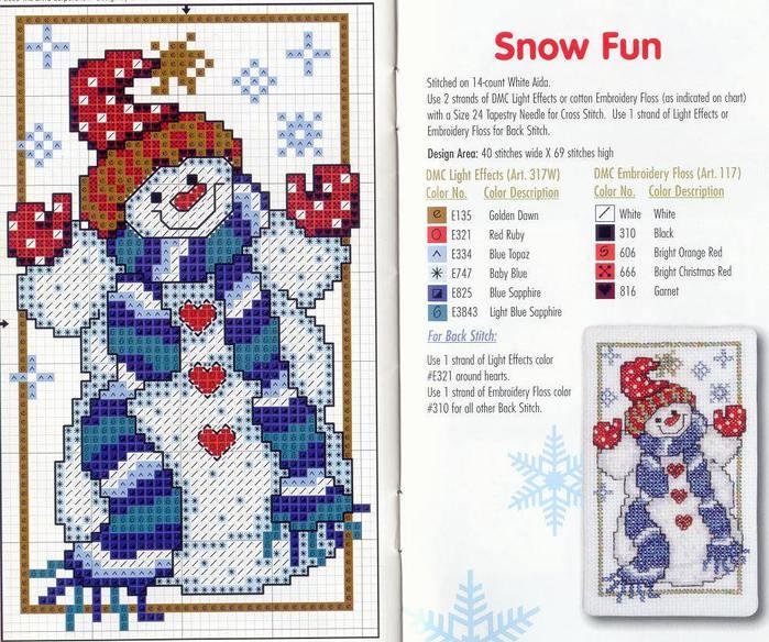 Вышивка Снеговик