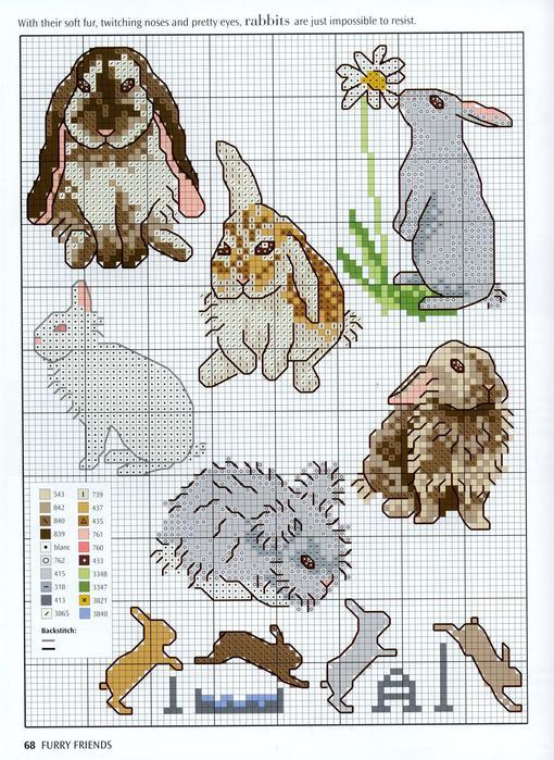 Вышивка Кролики
