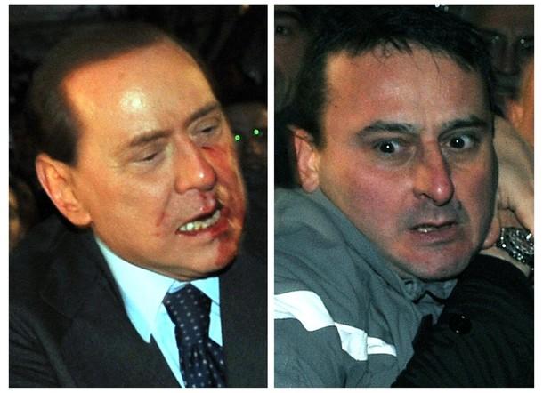 Сильвио Берлускони подвергся нападению в Милане во время политического митинга, 13 декабря 2009.