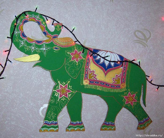 роспись акрилом слон