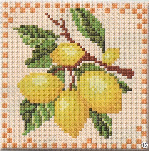 """Схема вышивки """"Лимон""""."""