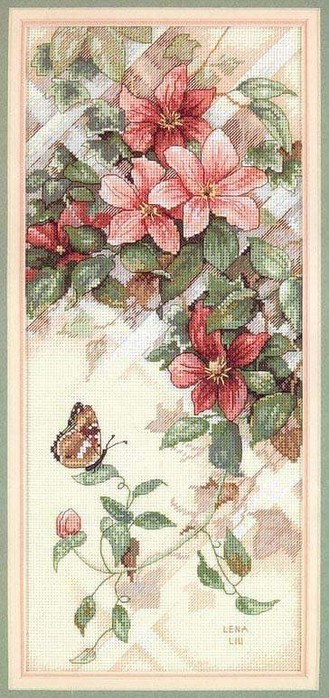 embroidered pictures: flowers and butterfly