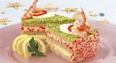 sandwich cake with shrimp and caviar