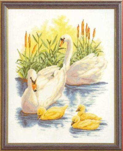 схема вышивки лебединая семья