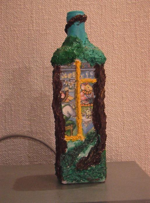 Бутылка из папье маше