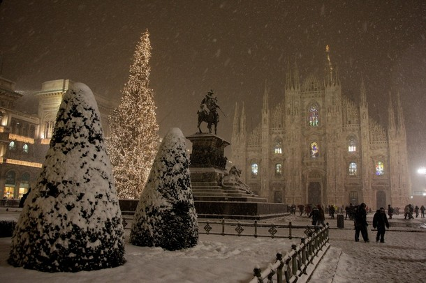 Снежная идилия в Милане, Италия. Метели и низкие температуры прошлись по всей Европе.