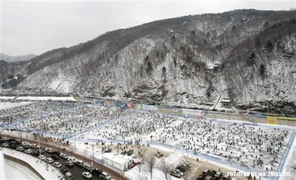 Трехнедельный фестиваль горной форели 'Санчеонео' стартовал в Хвачхон, Южная Корея, 10 января 2010.