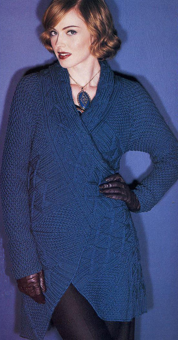 knitting cardigan: coat with a pattern of the braid