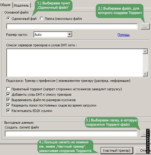 Панель создания Торрент-файла