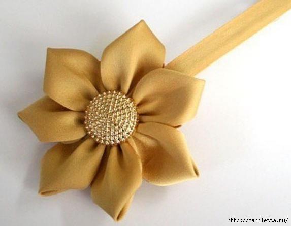 Цветочек из косой бейки. Украшаем заколку для волос (12) (573x445, 99Kb)