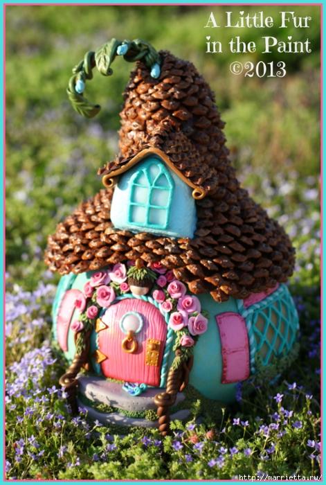 Изумительные сказочные домики из тыквы, полимерной глины и шишек (13) (471x700, 307Kb)