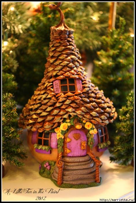 Casas de hadas asombrosas hechas de calabaza, arcilla polimérica y conos (31) (471x700, 299Kb)