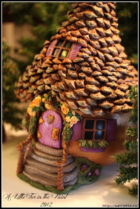 Casas de hadas asombrosas hechas de calabaza, arcilla polimérica y conos (32) (471x700, 284Kb)