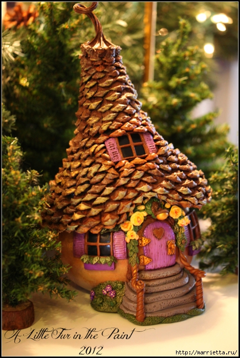 Casas de hadas asombrosas hechas de calabaza, arcilla polimérica y conos (34) (469x700, 305Kb)