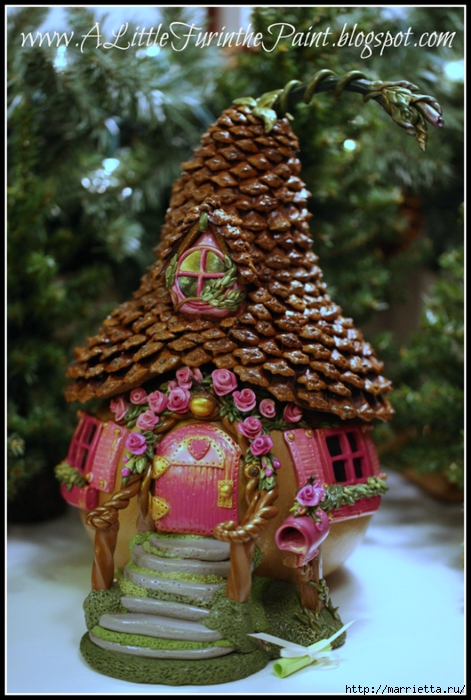 Casas de hadas asombrosas hechas de calabaza, arcilla polimérica y conos (35) (471x700, 280Kb)