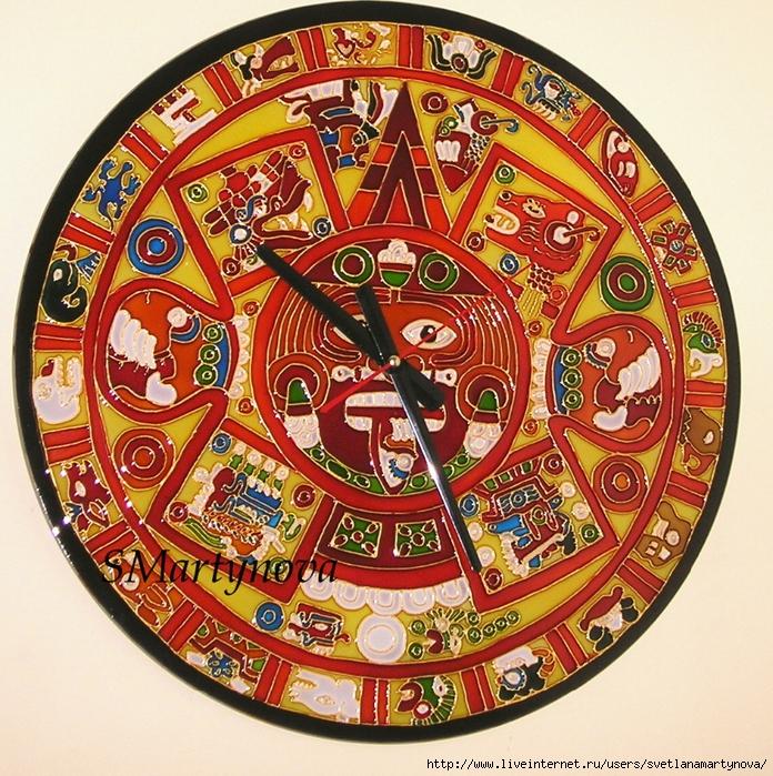 Часы Календарь Майя. Витражная роспись
