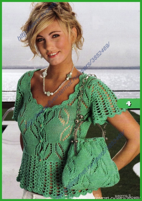 Зеленая ажурная блузка и сумочка (493x700, 316Kb)
