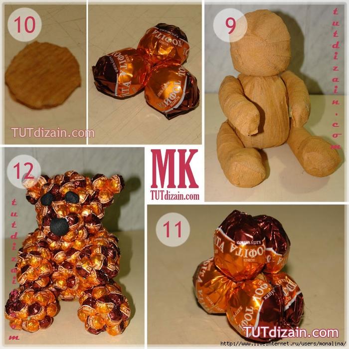 Как сделать медведя из конфет