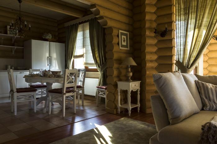 Интерьер дома из бревна в стиле прованс фото