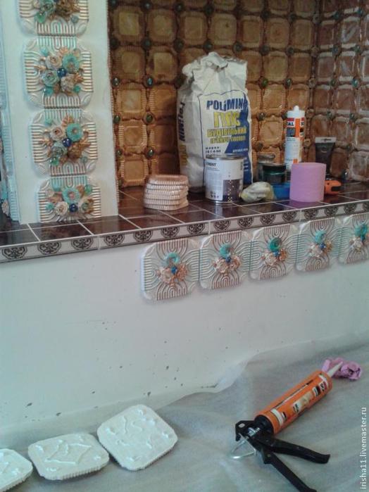 Baldosas de yeso chimenea ajuste floral hecho en casa (18) (524x700, 325Kb)