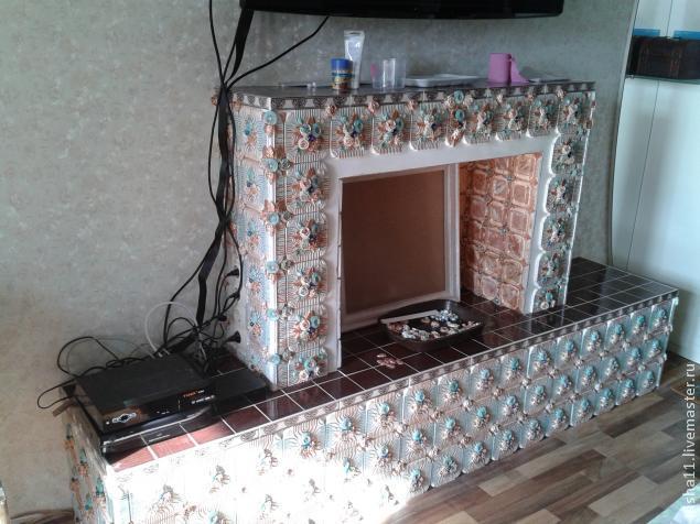 Baldosas de yeso chimenea ajuste floral hecho en casa (20) (635x476, 228Kb)