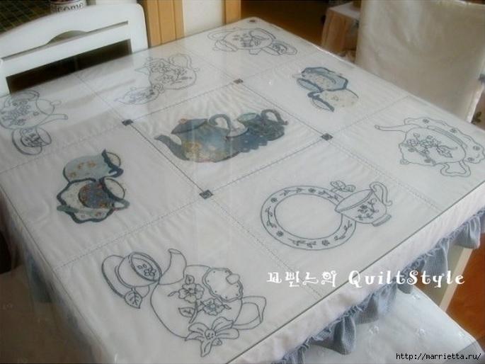 Скатерть с вышивкой и аппликацией чайного сервиза (4) (685x514, 172Kb)