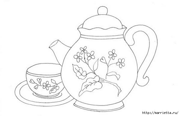 Скатерть с вышивкой и аппликацией чайного сервиза (6) (599x389, 71Kb)