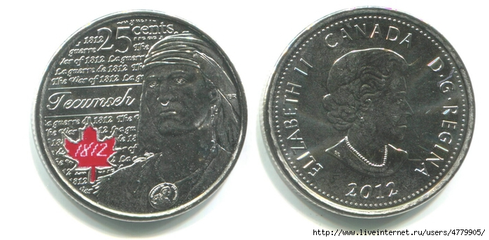 01 25 центов, Канада, 2012, война 1812 года, Текумсе, цветная_enl (700x343, 183Kb)