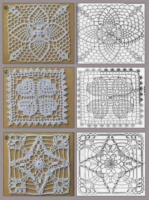 Квадратные мотивы связанные крючком со. .  Вязаные круглые мотивы крючком и схемы.