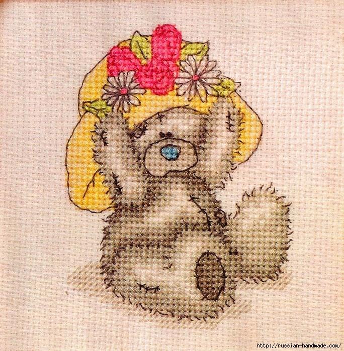 Плюшевый мишка. Схемы вышивки крестиком (4) (684x699, 511Kb)